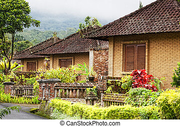Some small houses in an environment tropical plants
