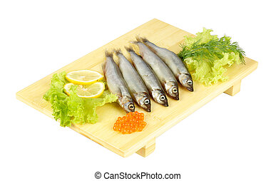 some smelts isolated on white background