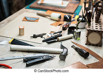 Some tools for work with leather