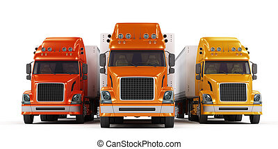 Some trucks presentation isolated on white - Red, orange and...