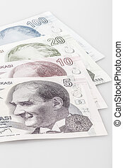 Turkish lira banknotes on white