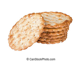 crackers - some wheat sesame crackers isolated on white...