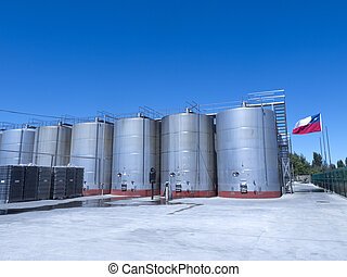 some wine metallic fermentation tanks