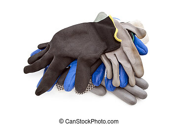 some work gloves isolated, different work gloves on a white...