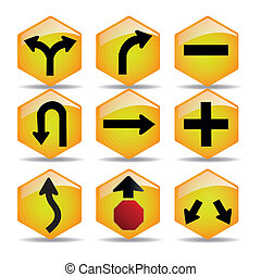 transit signals - some yellow transit signals with some ...