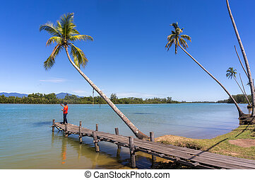 wood jetty river with bluesky - somebody selfie on wood ...