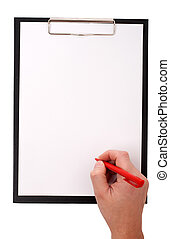 Black clip board with blank paper and a hand holding red pen