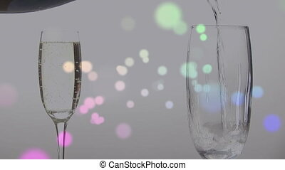 Someone filling a glass with champagne - Animation of ...