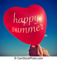 someone holding a heart-shaped balloon with the sentence happy summer written in it, with a retro effect