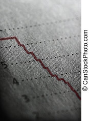 Someone is fired - Shallow depth of field on a line graph...