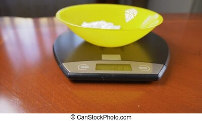 someone measures cottage cheese in electronic form in the...