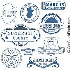 somerset, condado, señales, genérico, nj, sellos