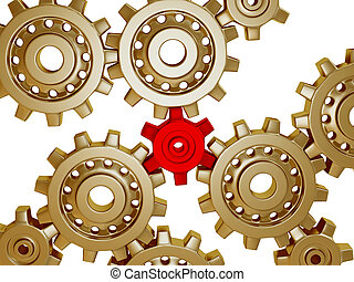 Somes big golden metallic gears