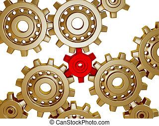 Somes big golden metallic gears
