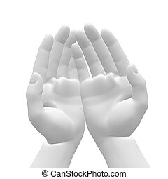 somethi, -, tenant mains, blanc, vide