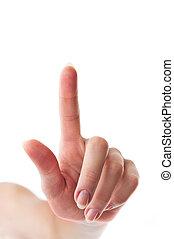 somethimg, toucher, doigt, main femelle