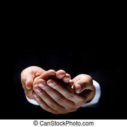 something., mâle, si, tenant mains
