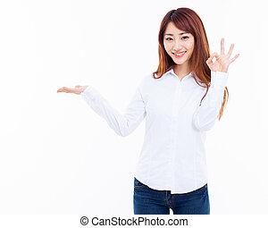 something., mulher, asiático, presente