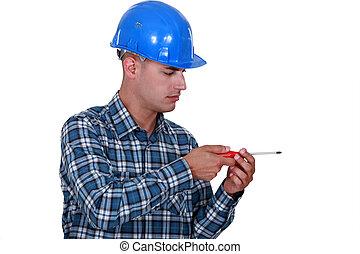 something., parafuso, eletricista, fingindo