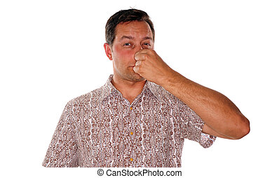 Something stinky - Man plugging nose after smelling...