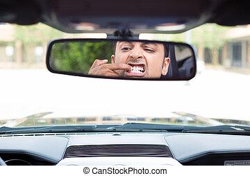 Something stuck between teeth - Closeup portrait, funny...