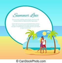 sommar älska, nät, affisch, krama koppla, palm, lycklig