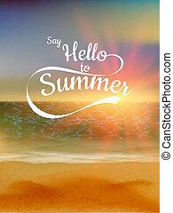 sommar, 10, eps, bakgrund., solnedgång, defocused