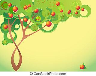 sommar, abstrakt, träd, frukter