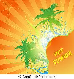 sommar, abstrakt, träd, varm, palm, bakgrund