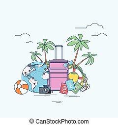 sommar, bagage, ö, träd, tropisk, palm, lokalisering, resa