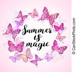 sommar, bakgrund, med, rosa, fjärilar