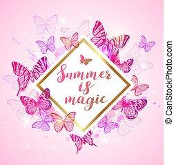 sommar, bakgrund, med, rosa, och, violett, butterflies.