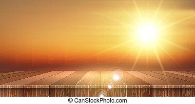 sommar, baner, trä, themed, bord, 2804, solnedgång, ute, sky, se