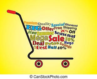 sommar, begrepp, inköp, försäljning, kärra