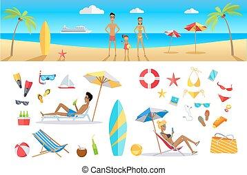sommar, begrepp, sätta, semester, mall