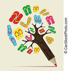sommar, begrepp, träd, blyertspenna