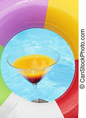 sommar, cocktail, poolside
