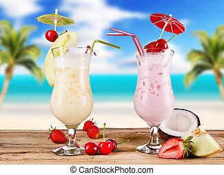 sommar, drycken