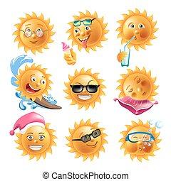 sommar, emoticons, sätta, ikonen, sol, semester, vektor, vettar, leende, helgdag, tecknad film