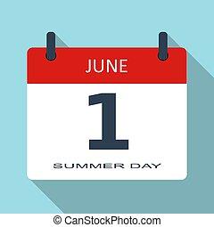 sommar, enkel, app, nymodig, plats, underteckna, holiday., kalender, nät, 1, june., mall, day., lägenhet, month., illustration, datera, mobil, dagligen, vektor, icon., tid
