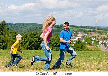 sommar, etikett, äng, familj, leka