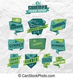 sommar, etiketter, origami