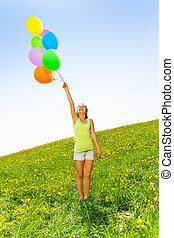 sommar, färgrik, holdingen, flicka, sväller, lycklig