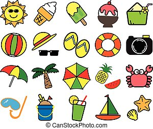 sommar, färgrik, ombyte, artikeln, symbol, bakgrund, vit, ikon