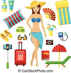 sommar ferier, elements:, list., kvinnlig, flicka, kontroll, grädde, resa, plumsa, longue, set., semester res, planerande, schäs, badstrandhandduk, emballage, resa, förberedande, flip, vektor, kamera, handling, hatt
