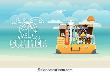 sommar ferier, illustration., vektor, resa, illustration