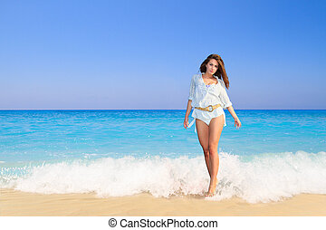sommar ferier, kvinna, på, strand