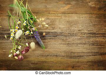 sommar, gammal, Trä, örtar, bakgrund, Blomstrar, bord