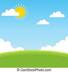 sommar, gräs, landskap