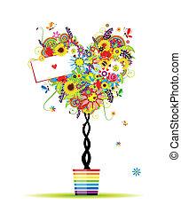 sommar, hjärta, kruka, träd, form, design, blommig, din
